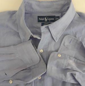 Ralph Lauren Men's Button Up Purple Blake Cotton